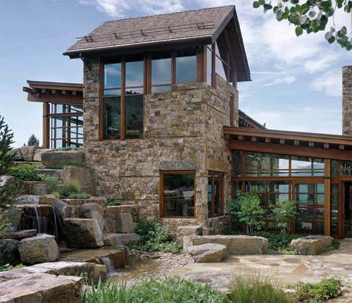 Brick House Design, House Design with Watercourse, Vail Valley Residence