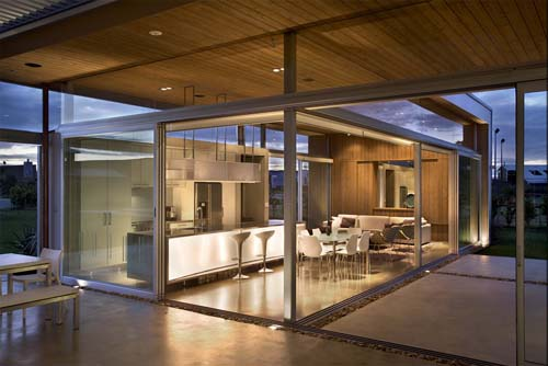 Luxury Open Dining Kitchen of Omaha Beach House by Xsites Architects