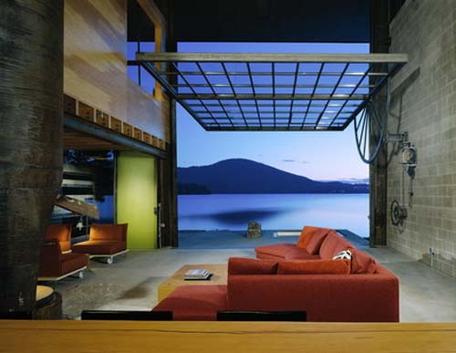 Living Room-Chicken Point Cabin by Olson Sundberg Kundig Allen Architects