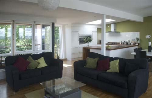 Living Room Glasgow contemporary house design with insulated concrete form-work in