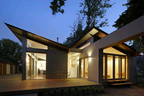 Night View-Kyneton House Design with Dynamic Double Skillion Roofs by Marcus O'Reilly Architects