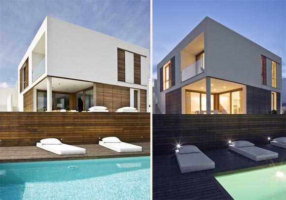 Day and Night view of Pool of Square House Single Family House in Calallonga Menorca Square House, Single Family House in Calallonga, Menorca