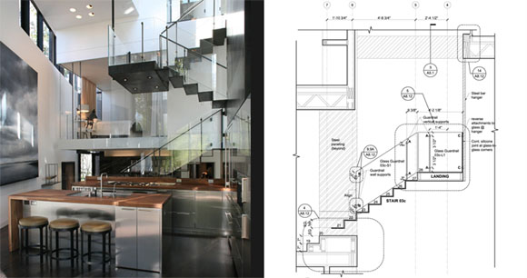 Kitchen And Stairs View Of Ansley Glass House House With