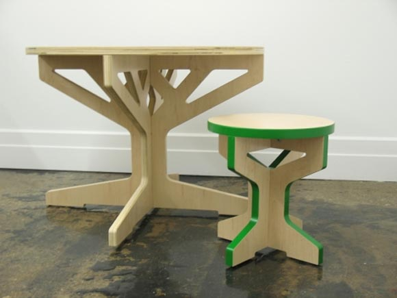 Interlocking Tree Table and Stool by April Hannah 1 Interlocking Tree Table and Stool by April Hannah, Completed Your Interior Furniture