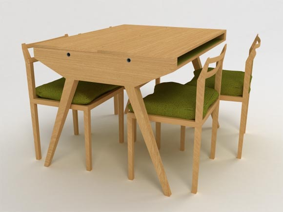 Will Dining Table by Lisa Sandall 1 Chair and Dining Table by Lisa Sandall, Made From Oak and Aesthetically Inspired by Mid Century Danish Furniture