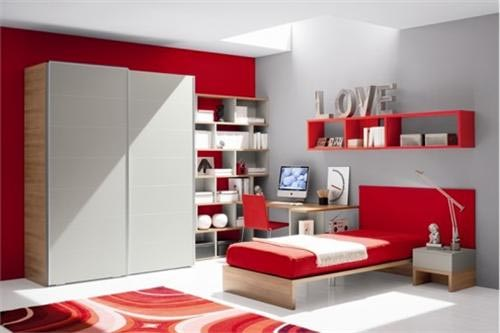Colorfull bedroom decoration makes bedroom more for Red and grey bedroom designs