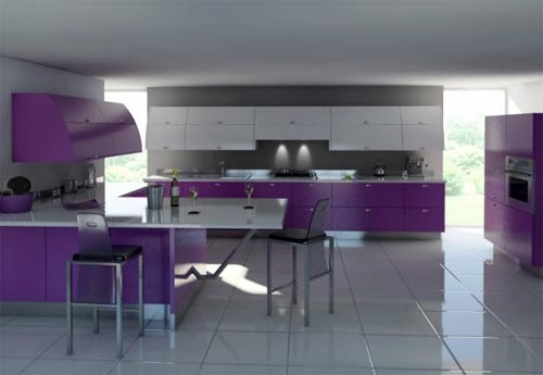 Modern purple kitchen design and furniture Modern Bright Color Kitchen Design and Furniture