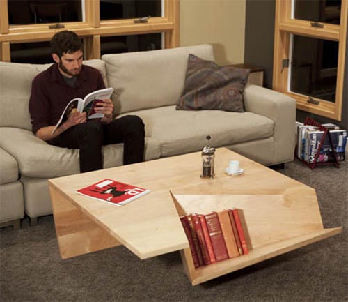 Modern and minimalist coffee table with book storage for Riviste interior design