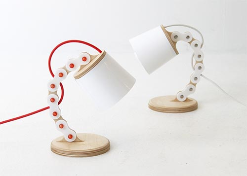 B chain lamp in red and white Unique Lighting Design by Cho hyung suk Design