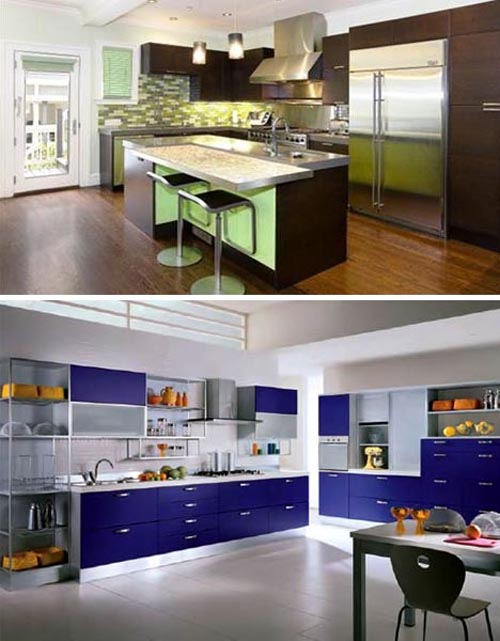 Luxury color kitchen by scavolini interior design for Blue and brown kitchen