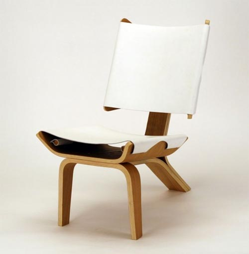Stylish Curved Chair Design Made Of Bent Plywood And Leather