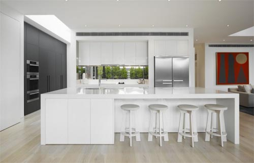 White kitchen design DMH Residence in Melbourne DMH Residence Interior Design, Modern White Interior Design