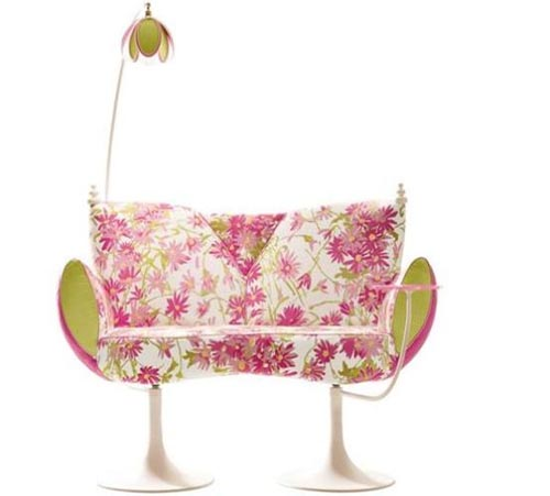 Beautiful sofa with flower motif and wave of spring