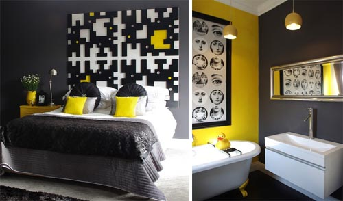 Inspiring black bedroom and modern bathroom design Search Inspiring Home Design