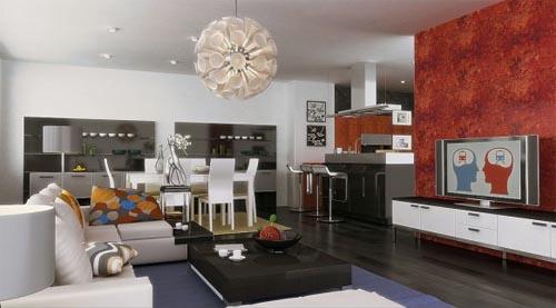 Modern Living Dining Room Design Idea