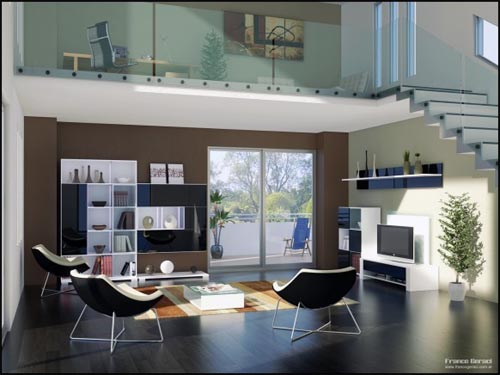 Modern living room design by Franco Geraci Modern Cool Living Room Design Ideas