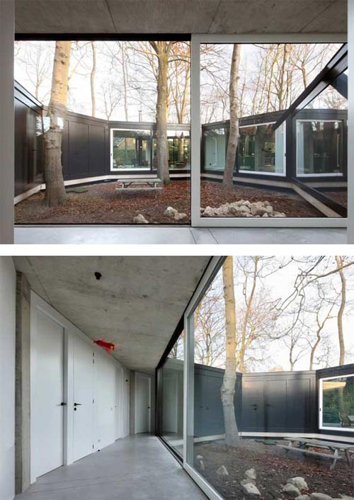 House BM, Concrete House with Interior Courtyard Allows Interaction Between Interiors and Exteriors