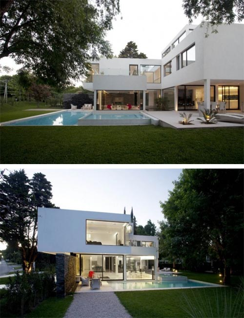 Carrara House in Argentina, Modern White House with Decorative Indoor Pool