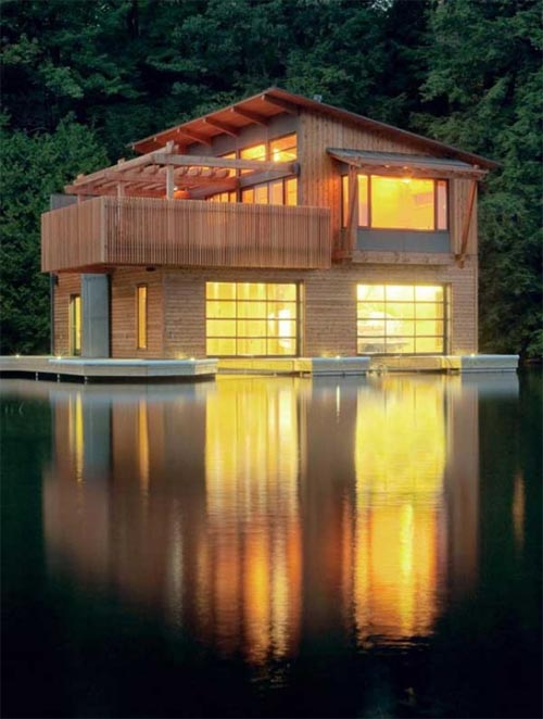 Modern muskoka boathouse design with wooden as main for Boat house plans pictures