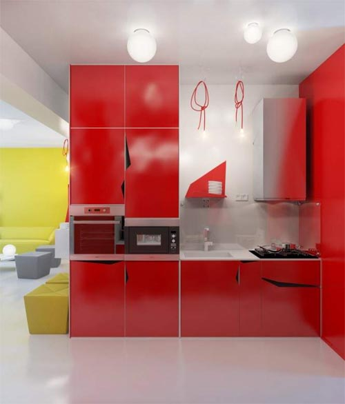 Cheerful Colors Small Apartment for More Fun Living