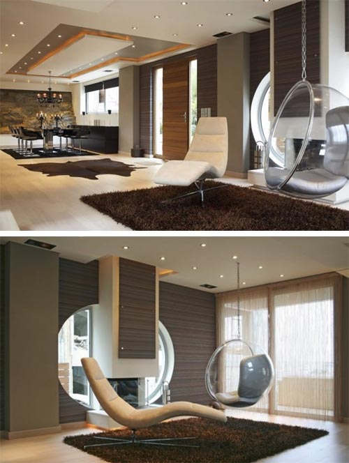 amazing house design in athens with futuristic interior. Black Bedroom Furniture Sets. Home Design Ideas